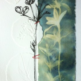 Ink Drawing with embossing and stitching 1