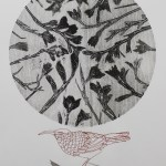 Monotype with fynbos and stitching