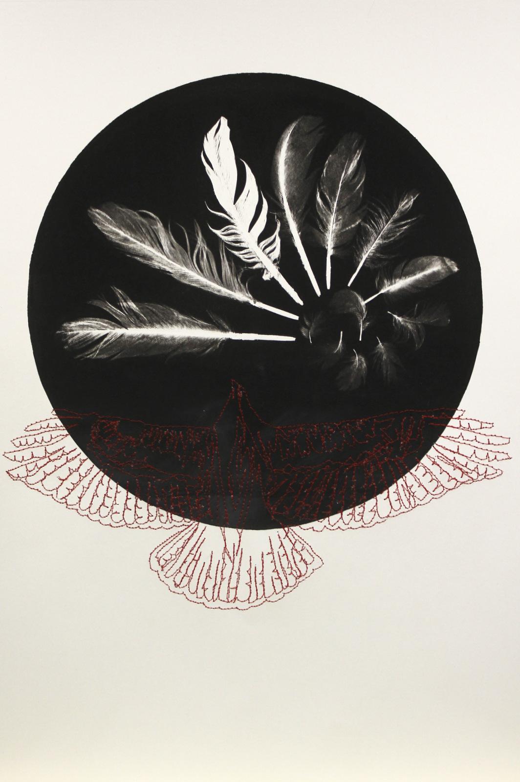 Hand printed unique Feather Monotype Monique Day-Wilde