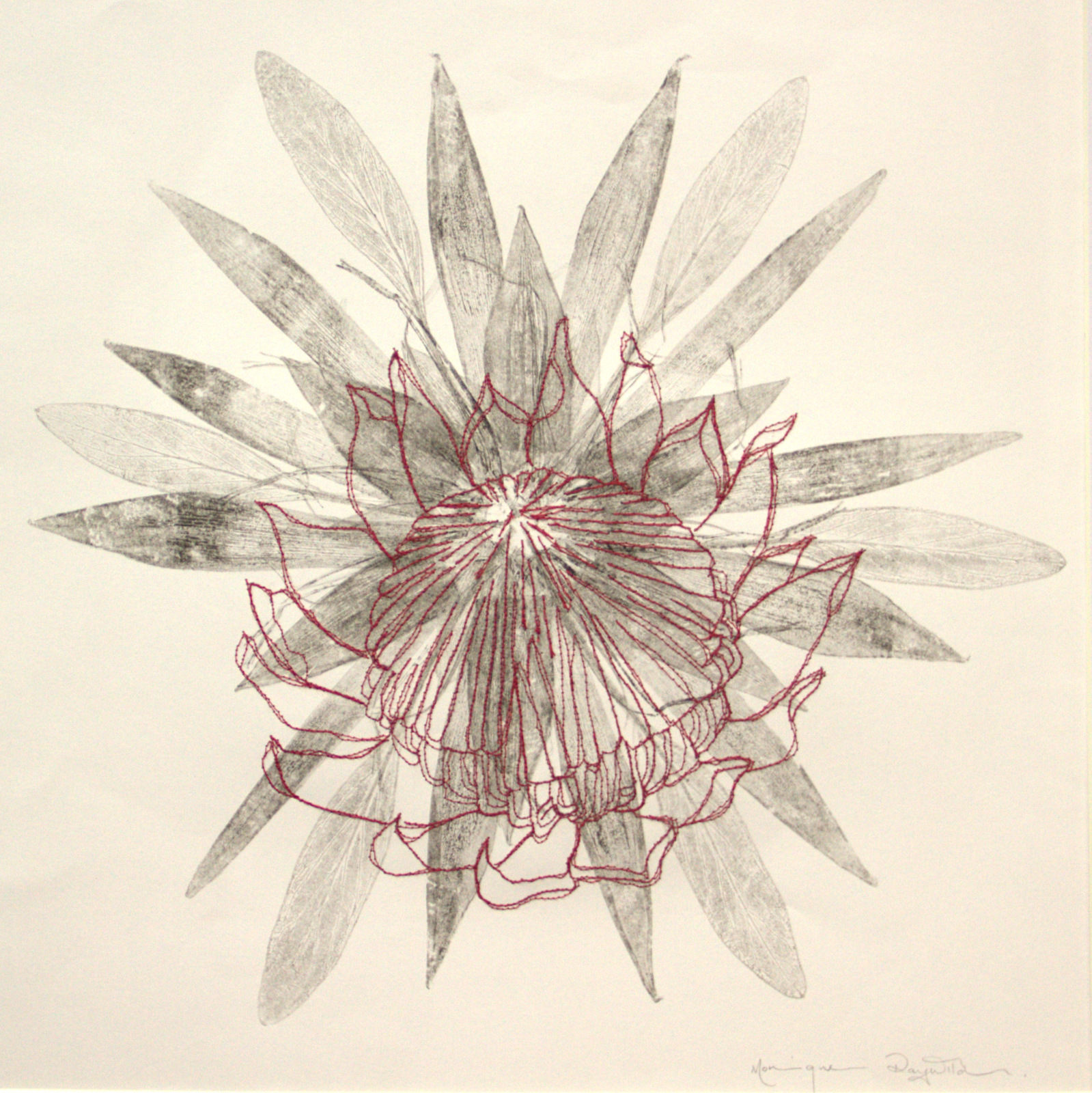Deconstructed king Protea monotype with stitching