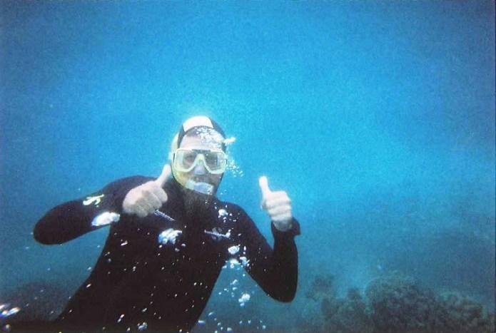 Snorkel Dad on the Great Barrier Reef Queensland Australia
