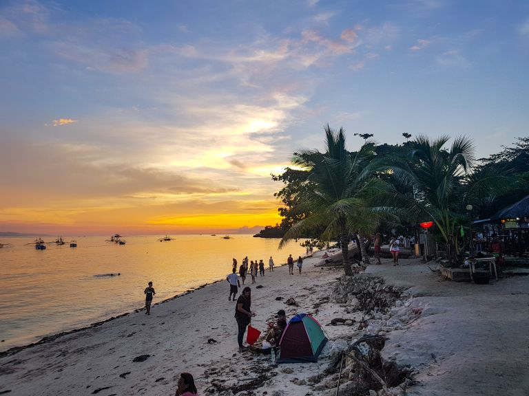 Alona Beach Sunset Panglao Island Bohol Philippines