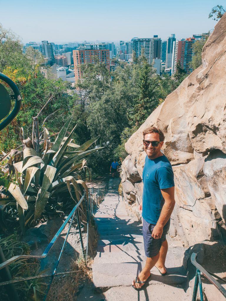 Man in Santa Lucia Park Santiago Chile South America