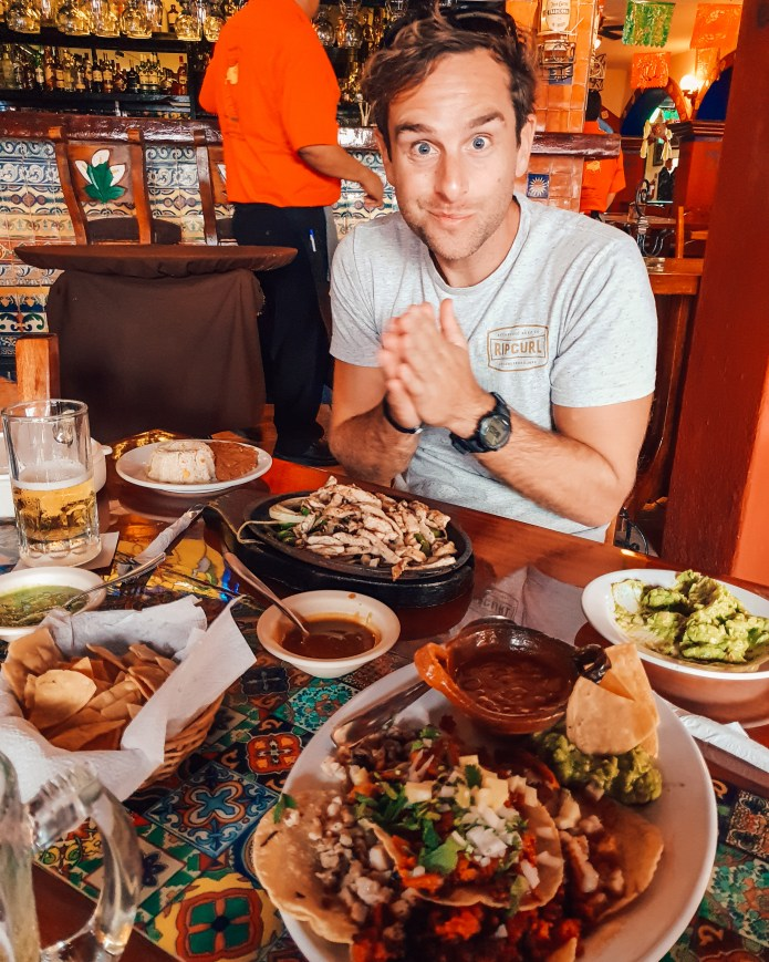 Man eating Mexican Feast Cancun Mexico North America