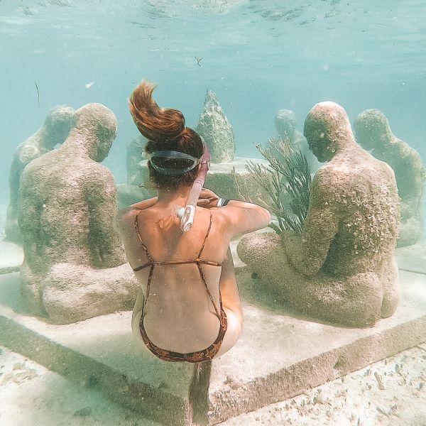 Woman Snorkeling Jungle Tour MUSA Cancun Mexico North America