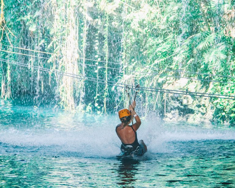 Xplor Playa del Carmen Mexico North America Zipline Waterfall