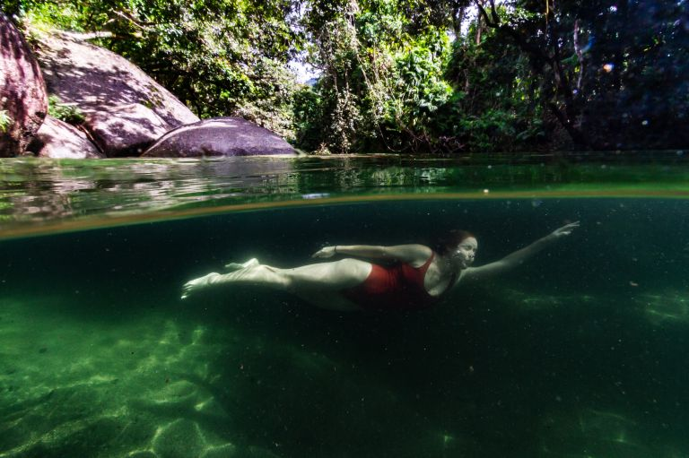Babinda Boulders Woman Swimming Cairns Queensland Australia