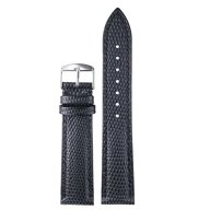 22mm Men's Black Lizard-Grained Leather Wristbands for Luxury Watches Straps Replacement Genuine Calfskin