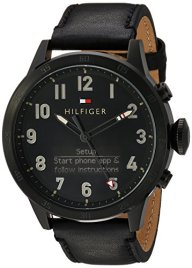 Tommy Hilfiger Men's 'TH 24/7' Quartz Resin and Leather Smart Watch, Color: Black (Model: 1791301)