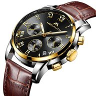 Mens Watches Gents Chronograph Waterproof Sports Date Luxury Analogue Brown Leather Strap Wrist Watch