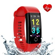 Fitness Tracker, Smart Band with Heart Rate and Blood Pressure Monitor, Activity Tracker,IP67 Waterproof, Pedometer, Sleep Monitor, OLED, Bluetooth 4.0, Compatible with Android and IOS (red 1)