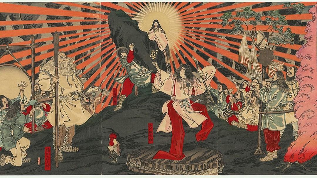 Amaterasu emerge dalla caverna in cui si era nascosta (Shunsai Toshimasa, 1887) Al centro c'è Amaterasu, con il sole alle spalle, davanti c'è Ame-No-Uzume che balla, a lato divinità varie che osservano