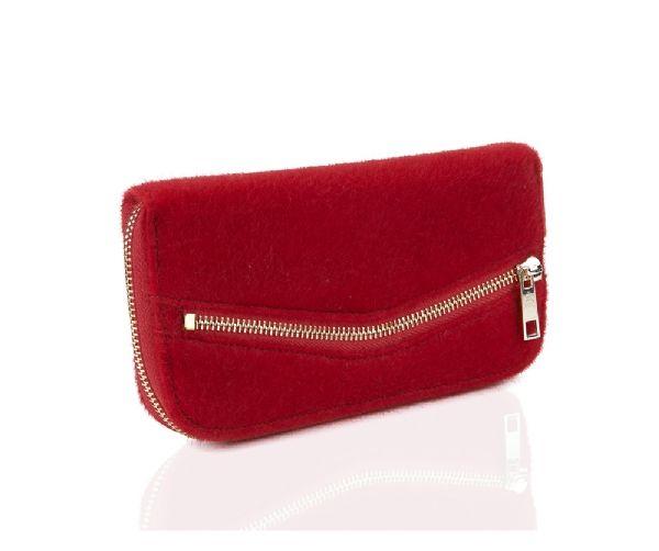portefeuille rouge fourrure pochette