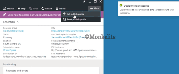 download the public profile from Azure