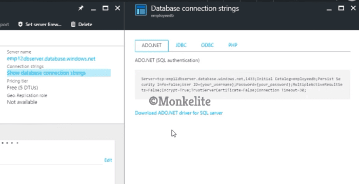 connection string is defined in the Microsoft Azure created database