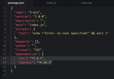 node.js dependencies in package.json