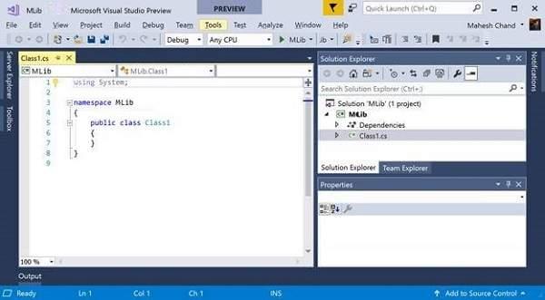 Visual Studio class file