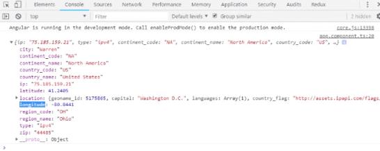 Geo Map API location JSON values