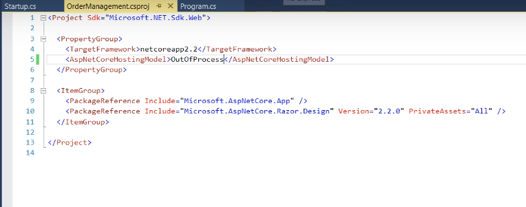 OutProcess in asp.net core