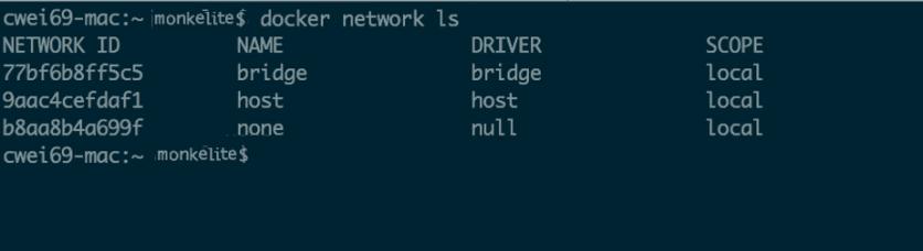 docker network list