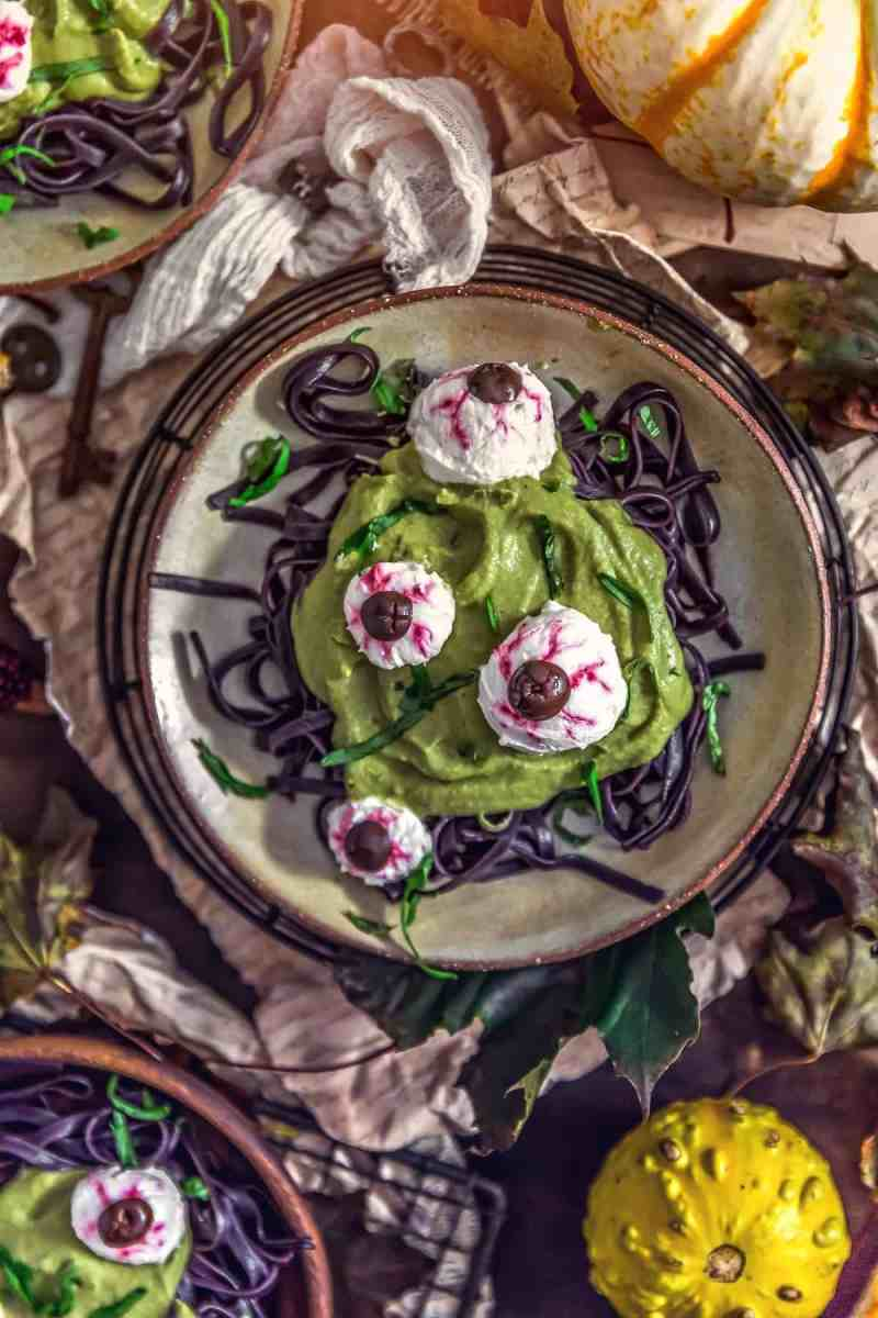 Spooky Spinach Halloween Pasta