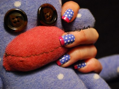 sock-monkey-french-tips-spots-blue-nail-polish-1