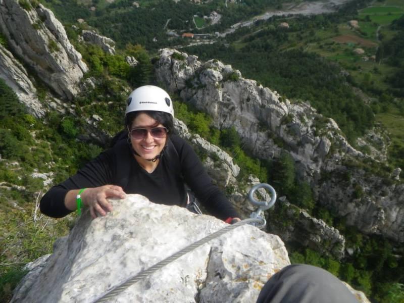 Laurel Robbins doing a via ferrata in Catalunya.  Just one of her many adventures.