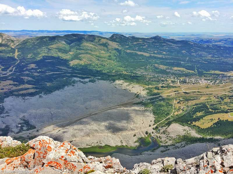 Overlooking Frank Slide from the first summit of Turtle Mountain in the Crowsnest Pass