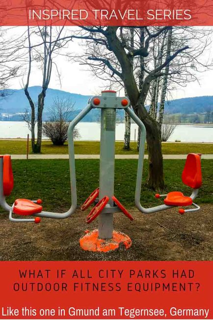 Inspired travel: outdoor fitness equipment in city parks like in Gmund am Tegernsee in Germany
