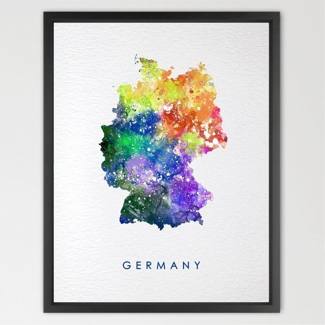 Germany Map Watercolor illustration