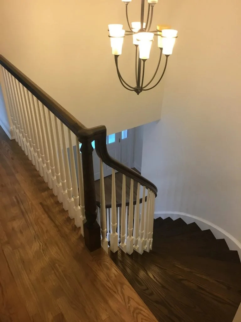 Refinishing Hardwood Stairs Before After Stair Remodel Ideas | Cost To Refinish Handrail | Hardwood Stairs | Wrought Iron | Interior | Stair Treads | Refinishing Hardwood Floors
