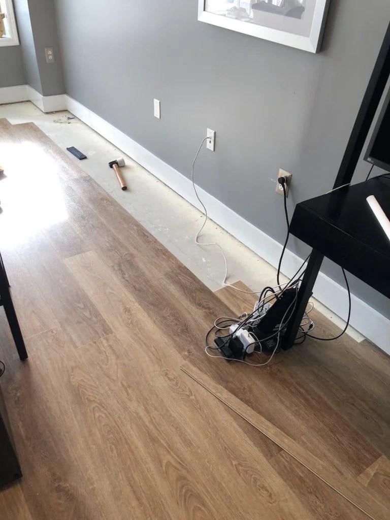 luxury vinyl tile installation in