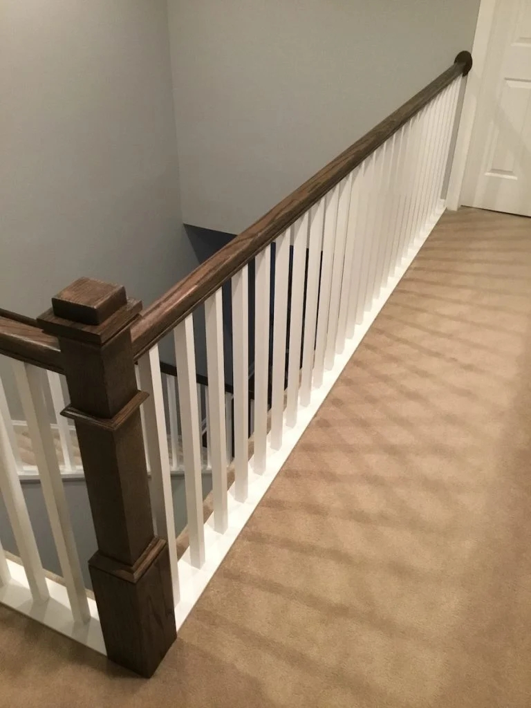 New Staircase Railing And Spindles Monk S Home Improvements   Spindle Stairs Railings   Stair Treads   Wood   Stair Parts   Iron Stair   Espresso