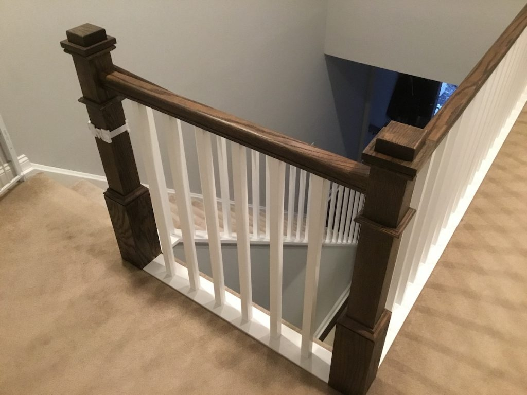 New Staircase Railing And Spindles Monk S Home Improvements | New Banister And Spindles | Stair Treads | Iron Stair | Oak Banister | Iron Balusters | Floating Stairs