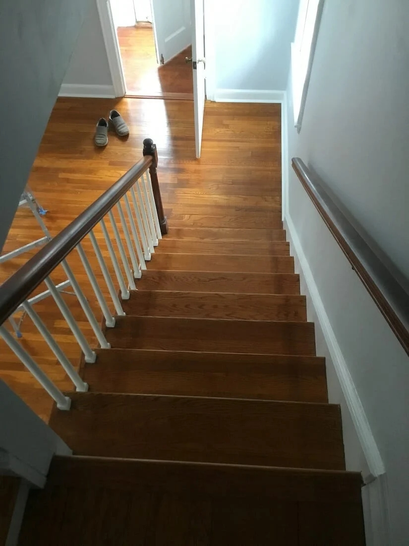 Refinishing Hardwood Stairs Before After Stair Remodel Ideas | Redoing Carpeted Stairs To Wood | Hardwood Floors | Stair Tread | Stair Risers | Stair Case | Staircase Remodel