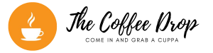 "vector image of a white coffee cup on an orange circle, next to the words, ""The Coffee Drop - come in and grab a cuppa"""