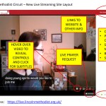 Screenshot of the new livestream service provided by Lincoln Methodist Circuit, with annotated notes of the various sections of the site