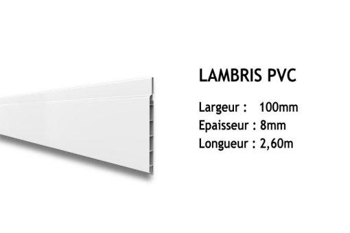 Lot De 10 Lames Lambris Pvc Blanc Larg100xep8mm Longueur 2m60