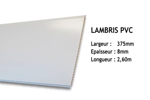 Lambris PVC blanc - 375x8mm