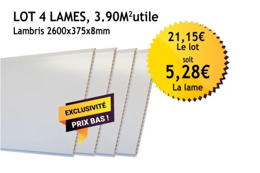 Lambris PVC blanc - 375mm - Lot de 4 lames