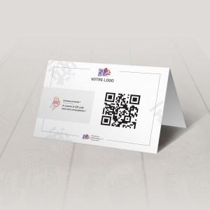 Visuel d'un chevalet A5 avec le QR code pour pouvoir accéder au menu digital et au cahier de rappel digital