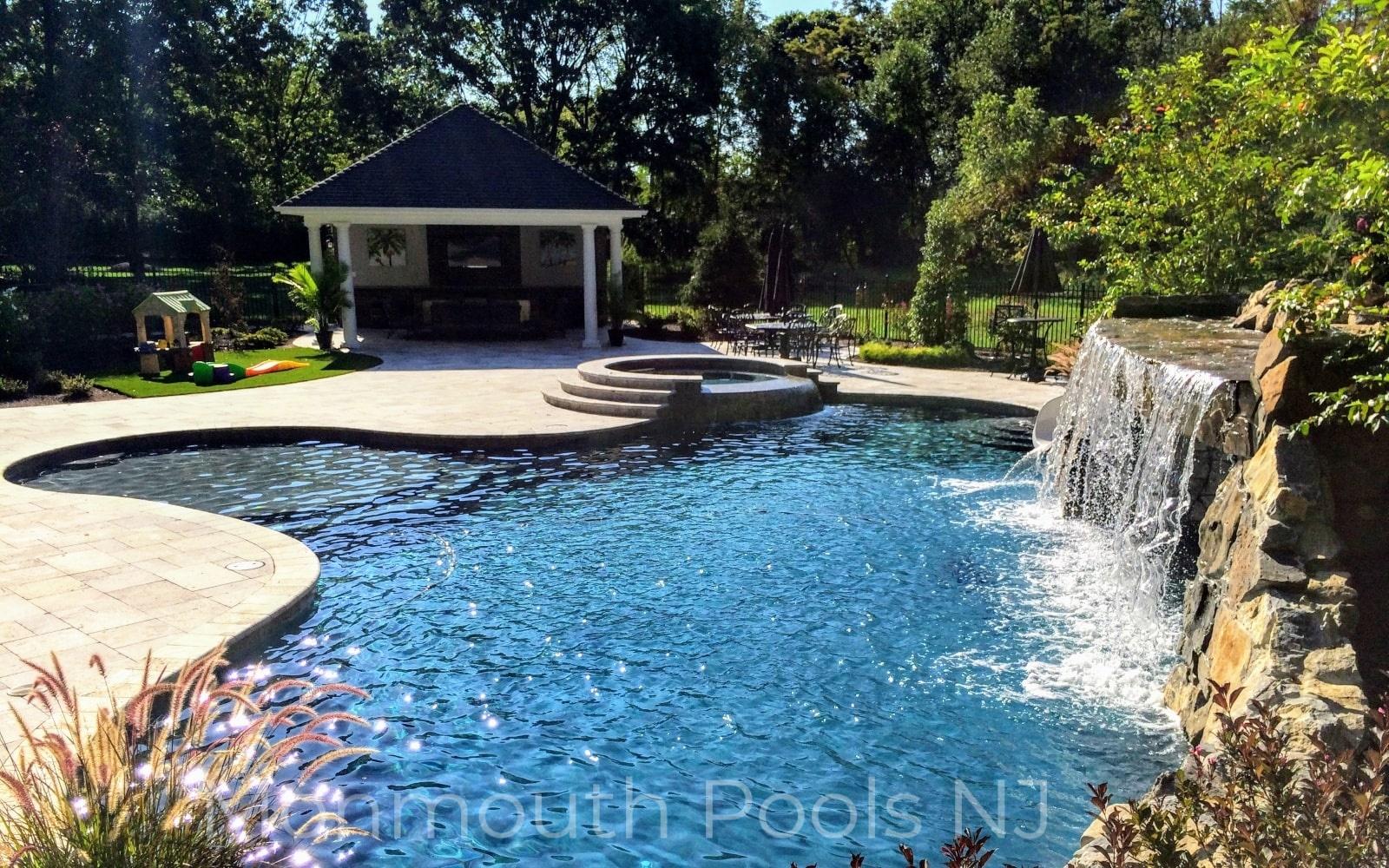 Pool with Waterfall– Custom Pool Pros, Pool Builders Mercer NJ