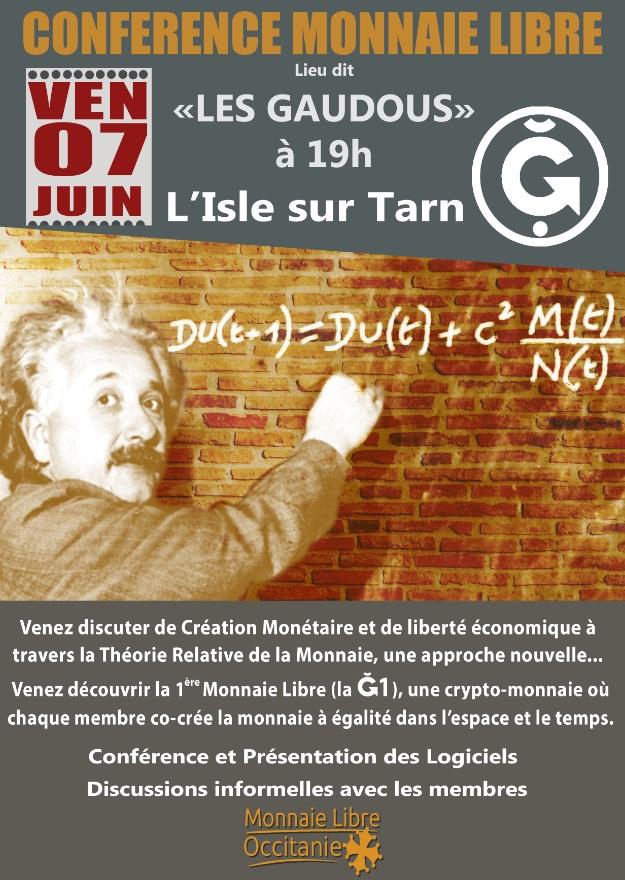 Conférence Monnaie Libre à L'Isle-sur-Tarn (Lieu dit «Les Gaudous»)