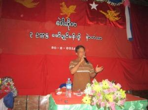 Nai Kasauh Mon, HURFOM director, gives speech at a public meeting in Pa-nga village, Mon state