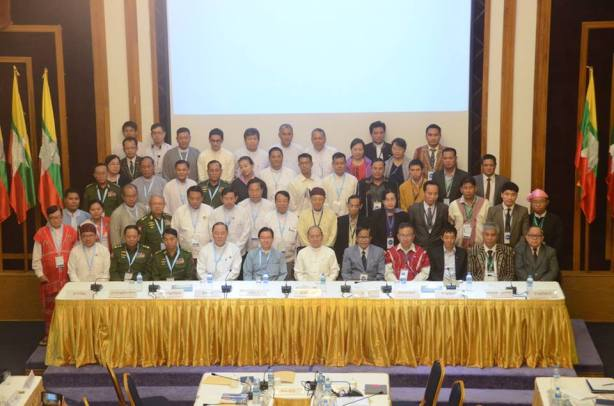 Group photos of President, NCCT and UPWC representatives taken after the signing of the nationwide ceasefire agreement