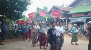 Villagers Marching in Protest