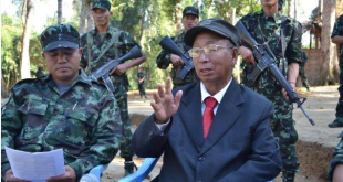 NSCN(K) Chairman SS Khaplang with militants in combat fatigues.(Pakistan Defence Website)