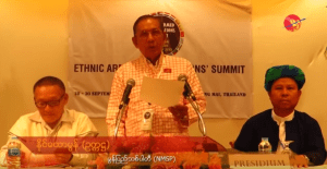 MNSP Chairman Nai Htaw Mon undertaking a speech
