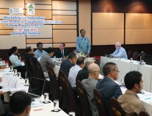 UNFC Vice-Chairman Nai Hongsar was talking at a recent federal workshop (Photo: ENAC Burma)
