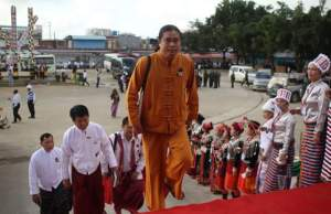 UPDJC's Joint Secretary (1) Sai Kyaw Nyunt walking to the Ethnic Armed Organization's seminar at Mai Ja Yang (Photo: Facebook/Sai Kyaw Nyunt)
